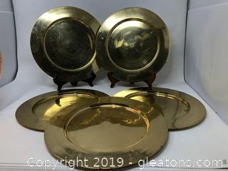Five Solid Brass Dinner Plates
