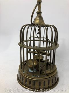 Very Unique Vintage Solid Brass Bird and Cage