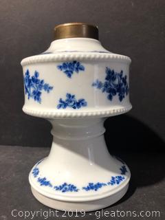 """Luke Kimball Vintage """" Blue and White"""" Oil Burning Lamp"""