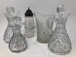 Antique Shaker and Vintage Oil Decanter Pitchers With Lids and Small Pitcher