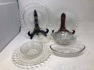Hobnail Mini Bowls and Platters with Mini Dish and Plates
