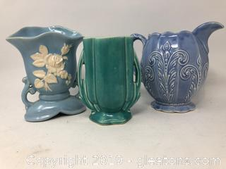 An Antique Vase and Two Vintage Ceramic Urn and a Pitcher