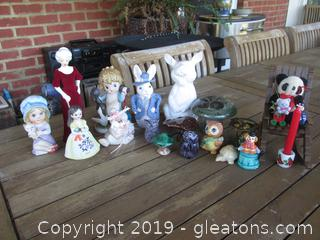Miscellaneous Animal and People Figurines along with Mushrooms