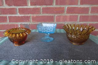 3 Pieces of Fenton Glass 2 Amber and 1 Blue