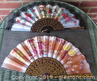 10 Lace / Material / Paper  / Plastic Hand Fans / Asian one feel Hand Painted