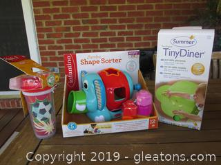 Lot of New Toddler Items / Jumbo Elephant Shape Sorter / Tiny Diner Portable Placemat /  Spill-Proof Spoutless Cup