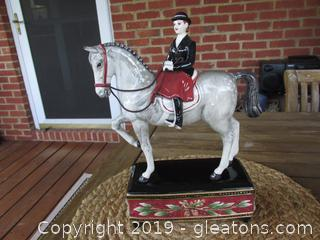 Fitz & Floyd Classic English Equestrian Figurine 12 inches tall for total height / base is 7 1/4 inches long & 3 inches tall