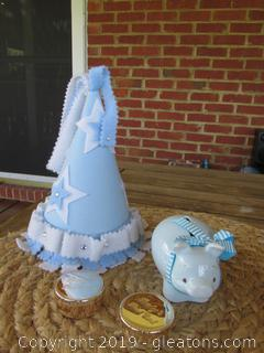 A Lot of Firsts  / First Birthday Felt Hat / First Piggy Bank /Reed & Barton  First Curl & First Tooth Keepsake Holders