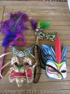 2 Cirque Du Soleil Face Mask Dralion & Mystere Also 2 Stick Mardi Gras Mask