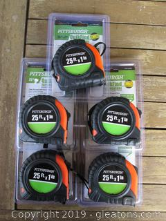 Lot of 5      25ft. x 1 in tape measures