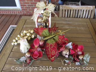 Red & Gold Christmas Lot with Magnolia's, Dragonfly, Cluster of Gold Jingle Bells, Gold Bulb & Mis