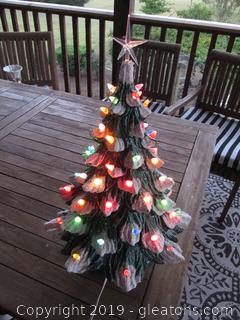 X-Large Vintage Lighted Ceramic Christmas Tree Snow -Tipped 21 inches to the top of the Star 19 inches to the top of Tree