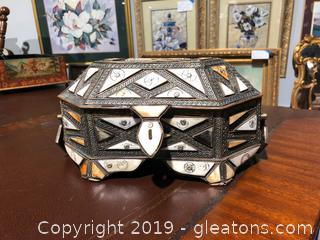 Decorative Metal & Stone Jewelry Box