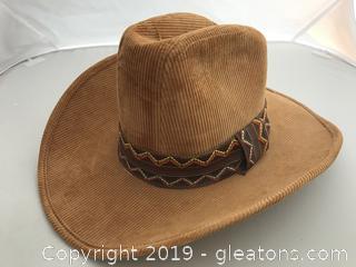 Vintage Corduroy Western Hat, Size Medium