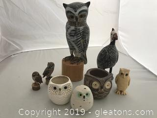 Owls; some carved, some ceramic