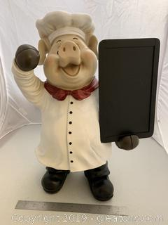 Chef Pig Holding Menu Board