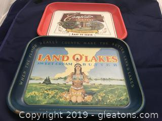 Two Tin Advertising Trays