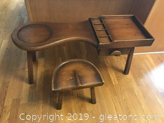Vintage Cobbler's Bench with Drawer and Stool