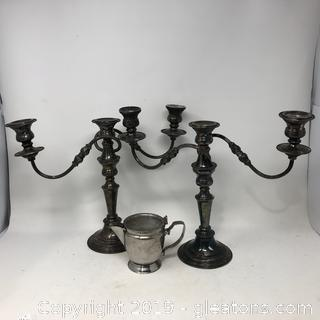 Vintage Lot of Legion Utensil and Elegant candlesticks