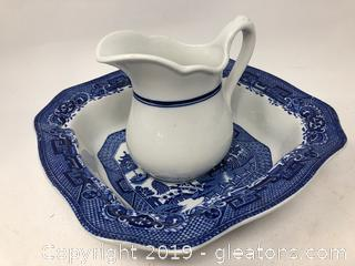Lot of Blue and White Pitcher and Bowl