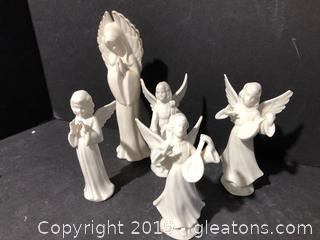 Lot of 5 Dresden Angels and One Tall Porcelain Angel