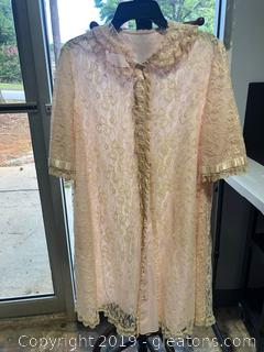 Vintage Satin and Lace House Coat