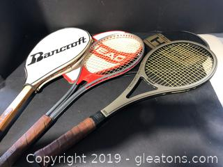 Lot of Three Tennis Racquets