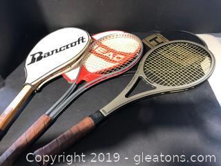Lot of Three Tennis Racquets
