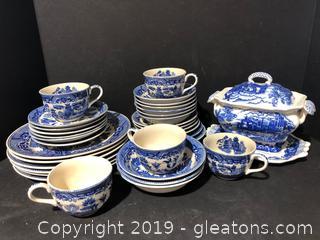 Large Set of Antique blue and White China