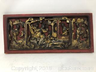 Vintage Hand Carved Wall Scene
