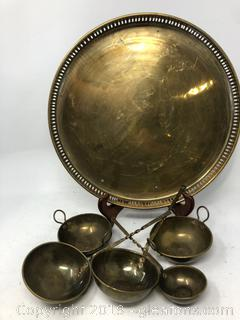 Brass Lot of Mini Bowls, Ladels and a Platter