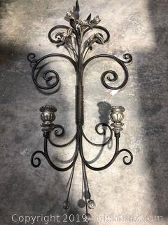 Large Metal Wall Candle Holder Decor