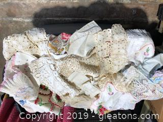 Large Tub Lot of Vintage Mixed Linens