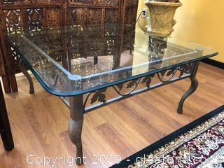 Glass and Iron Coffee Table