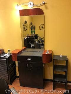 Salon Station D: Light, Mirror & Unit