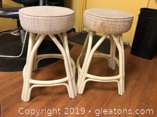 Pair Bamboo Bar Stools
