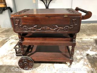 Elegant hand Carved Serving Cart Folding Sides