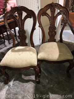 Two Heavily Carved Bernhardt Chairs Grand Savannah Collection