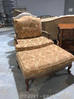 B WLII Collection High End Custom Accent Chair and Ottoman