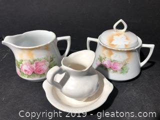 German Rose pattern Sugar and Creamer /With Small Bowl and Pitcher