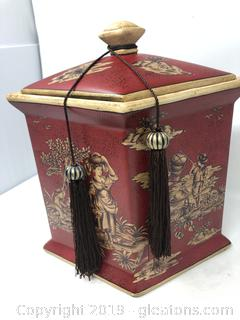 Decorative Burgundy Asian Canister