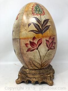 Large Ceramic Egg On Pedestal