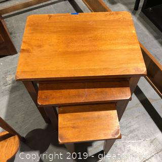 Set of 3 Wooden Stack Tables