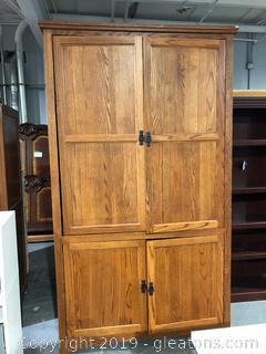 Mid-Century Wooden TV Armoire