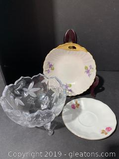 Crystal Candy Dish and (2) Floral Bowls
