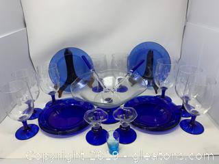 Blue Princess House Salad Bowl Set/Acrylic Salad Server