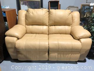Tan Leather Reclining Love Seat W/Wide Arms