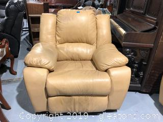 Tan Leather Rocker/Recliner, with Wide Arms
