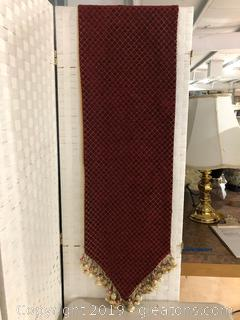 Red Diamond Cut Table Runner with Cream Tassels