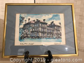 Pen & Ink Drawing of the Breakers, Newport By R.Kennedy